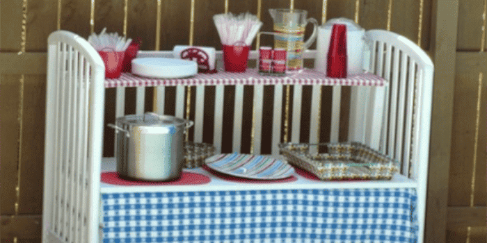 Create an outdoor serving table on wheels