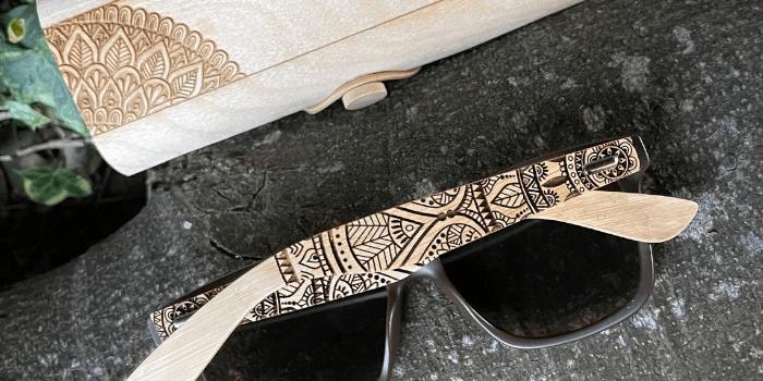Real Wood Bamboo Sunglasses with Laser Engraved Mandala