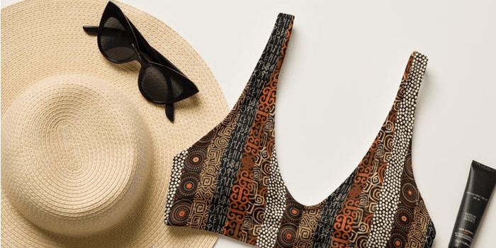 Ethnic Striped Recycled High-Waisted Bikini